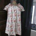 Robe ALBANE en coton écru fleuri (2)