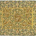 An<b>Imperial</b> <b>yellow</b> <b>silk</b> 'Dragon' throne seat cover, Qing dynasty, 18th century
