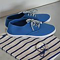 Customisation de baskets indigo en liberty adelajda bleu