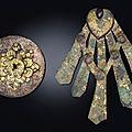 A rare small <b>gold</b> <b>and</b> <b>silver</b>-<b>decorated</b> <b>bronze</b> circular mirror, Tang dynasty (618-907)