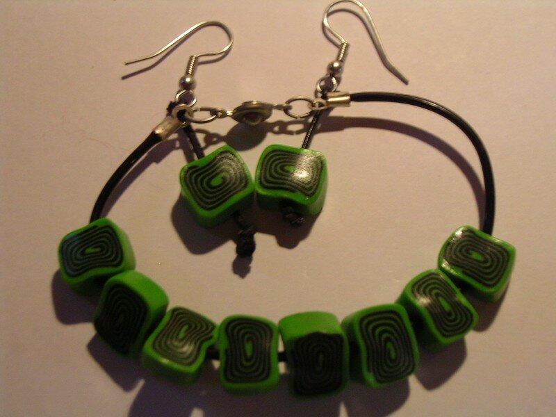 spirale vert/noir