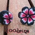 Bague fleur rouge et noir