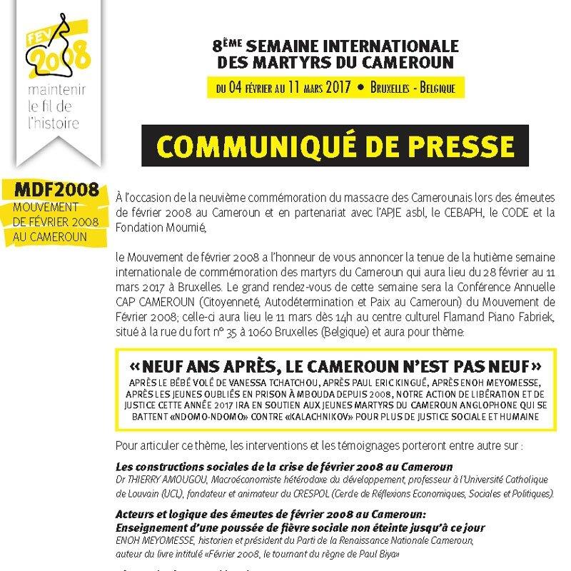 8ÈME SEMAINE INTERNATIONALE DES MARTYRS DU CAMEROUN du 04 février au 11 mars 2017 • Bruxelles - Belgique