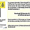 Pour la défense des droits humains, exposition jusqu'au 3 mars à ahun...