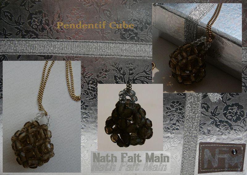 Pendentif Cube, perles à facettes
