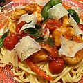 Spaghettis au poulet et poivrons