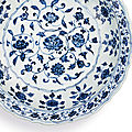 A finely painted blue and white barbed 'Floral' charger, Ming dynasty, Yongle period (1403-1425)
