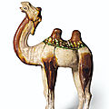 A sancai-glazed pottery figure of a <b>Bactrian</b> <b>camel</b>, Tang dynasty (AD 618-907)