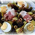 Salade de pommes de terre -œufs - bacon - fruits secs - olives