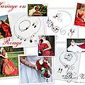 Création de collier mariage avec perles rouge, mariage rouge ou bordeaux