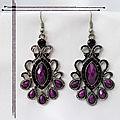 Boucles d'Oreilles Style Tibétain Sherab Perle Strass <b>Purple</b> Argent du Tibet