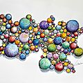 AQUARELLE peinture abstraite couleur bulles valérie Albertosi