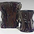 Twozitantree trunk-form brushpots, 18th century