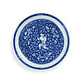 A blue and white '<b>boy</b> and peony' dish, Mark and period of Kangxi (1662-1722)