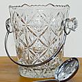 Vintage ... SEAU A GLACE avec cuillère * Verre ciselé