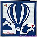 carte d'anniversaire masculine avec montgolfière bleue