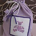 pochon ourson vichy violet