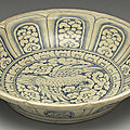 Vietnamese dish with bird-and-flower décor in underglaze blue. late 15th-early 16th centuries
