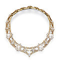 An impressive natural pearl and diamond necklace, by alexandre reza