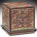 A rare engraved <b>polychrome</b>-lacquered square seal box, 17th-18th century