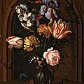 <b>Balthasar</b> <b>van</b> <b>der</b> <b>Ast</b>, A Vase of Flowers in a Niche with a Butterfly, Fly, Dragonfly and a Lizard