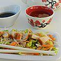 La salade de poulet à l'asiatique, carottes et germes de soja