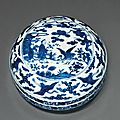 A blue and white circular box and cover, jiajing six-character mark in underglaze blue within a double circle and of the period