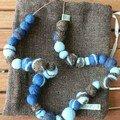 collier de boules feutrées bleues et marron
