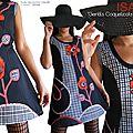 Robe Chasuble Graphique Noire Gris et Rouge Tendance collection Hiver 2015 2016 à carreaux écossais et Fleurs Coquelicot