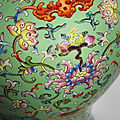 A lime-<b>green</b> <b>ground</b>famille rosevase,meiping, Qianlong six-character seal mark in iron-red and of the period (1736-1795)
