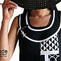 Robe Trapèze noire blanche patchwork imprimés graphiques ISAmade