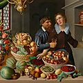 Georg Flegel and probably Marten Van Valckenboch, Large still life with fruits, vegetables and flowers, ..., circa <b>1610</b>-15