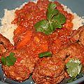 Boulettes de bœuf a l'houmous et au cumin, sauce tomates carottes