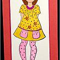 carte porte-billet avec fillette brune et chaton