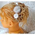 Peigne à <b>cheveux</b> mariée fleur blanc fil aluminium accessoire de mariage