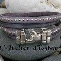 Tout gris, comme le ciel où je suis. Comme ce <b>bracelet</b> <b>double</b> <b>tour</b> cuir vieilli et cuir à billes !