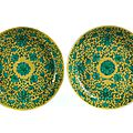 A pair of dishes, China, Qing Dynasty, <b>Jiaqing</b> mark and period, 1796 - 1820