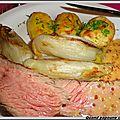 Cote de boeuf grillee sauce moutarde, pommes de terre nouvelles et endives braisees