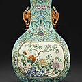 An exceptionally rarefamille rosefaceted pear-shaped vase, Qianlong six-character seal mark in iron red and of the period (1736-1795)