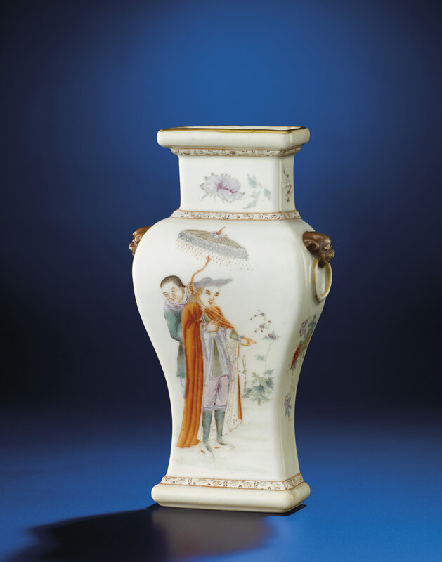 Afamille rose'European figures' wall vase, Qianlong six-character seal mark in iron red and of the period (1736-1795)