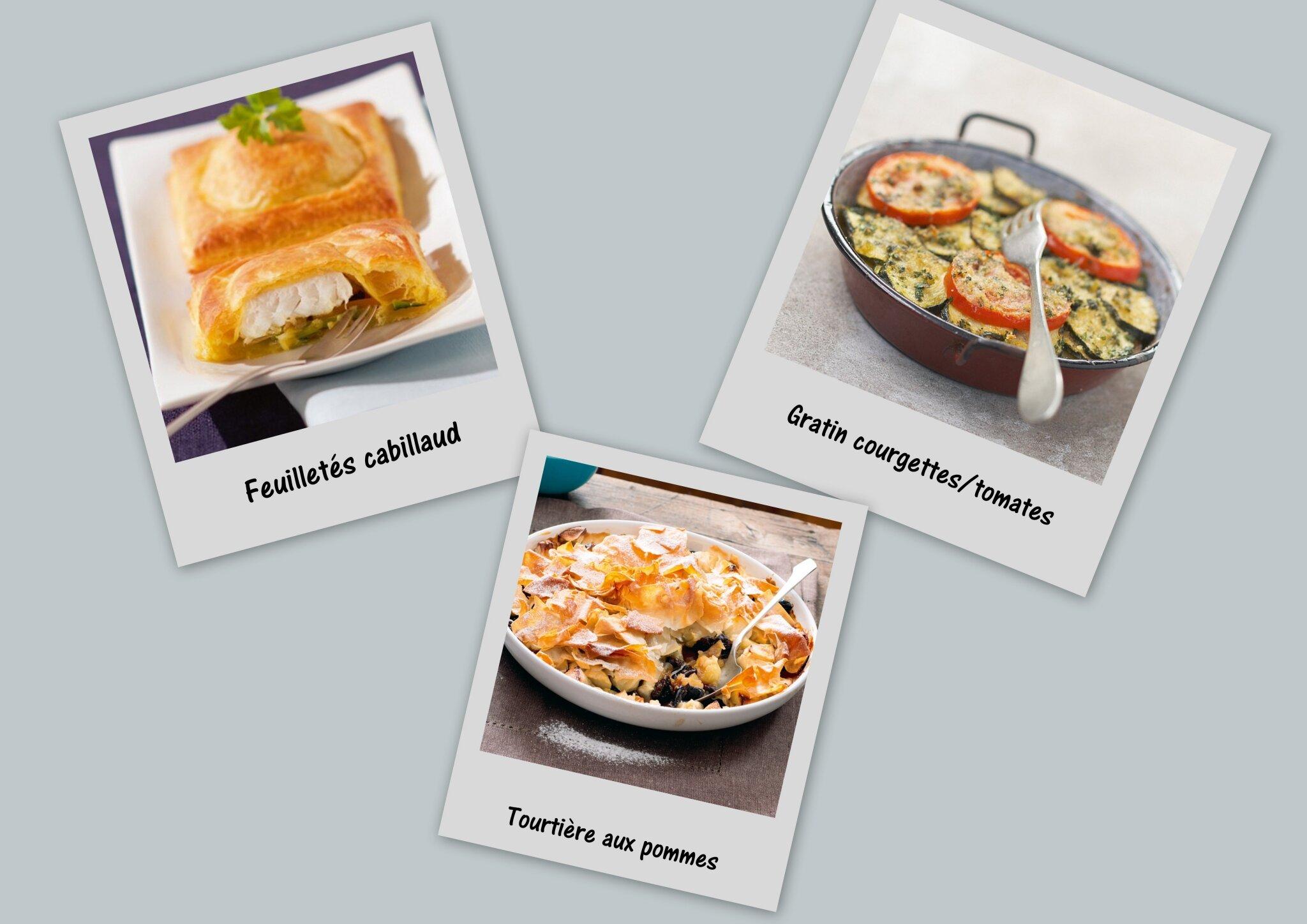Le menu du jour : Feuilleté au cabillaud, Gratin de courgettes et tomates, Tourtière aux pommes et pruneaux
