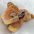 Doudou Peluche Lion Simba Le Roi Lion <b>poils</b> longs Disney Store 19 cm