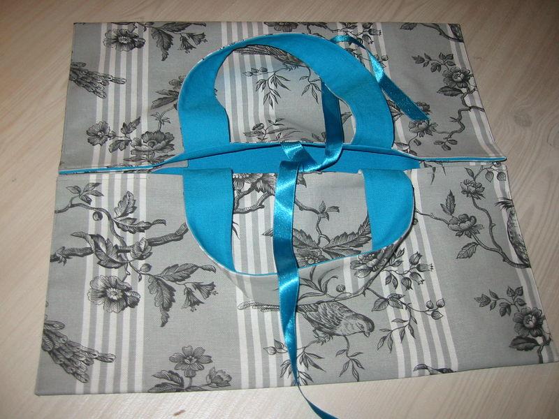 sac à tarte toile de Jouy-bleu