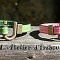 Octobre rose entre mère et fille, ça peut l'faire aussi, non !? ;-) Avec ce duo de bracelets en cuir rose et vert fermoir bronze