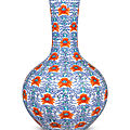 A finedoucaiand iron-red 'Indian lotus' bottle vase, Daoguang seal mark and period (<b>1821</b>-<b>1850</b>)