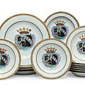 A set of ten <b>armorial</b> soup plates and four chargers for the Dutch market, circa 1752