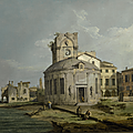 Giovanni Antonio Canal, called <b>Canaletto</b> (Venice 1697 – 1768), A Venetian capriccio view of an oval church beside the lagoon