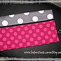 porte-chéquier rose à pois et gris bis