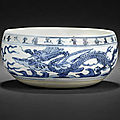 A rare documentary blue and white <b>alms</b> <b>bowl</b>; Dated Wanli 32nd year, corresponding to AD1605 and of the period