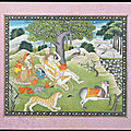 Shiva and Parvati with Ganesh, Karttikeya and Nandi on Mount Kailasa, <b>Kangra</b>, circa 1820-30
